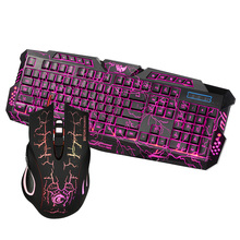 J10 USA English Wired Gaming Keyboard Mouse Set Three-Color Backlight Crack Keyboard + Colorful Backlight Mouse For PC Gamer цена и фото