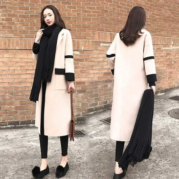 Fashion Long Winter Wool Coat Women Stitching Lapel Thick long jacket Slim Beige Overcoat Woolen Blends Parka Casaco Feminino 58
