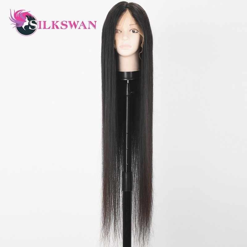 SilkSwan peruka na koronce Natural Color proste włosy niepoddawane zabiegom peruki wstępnie oskubane z dzieckiem włosy 28 30 Cal pełne koronkowe peruki dla kobiet
