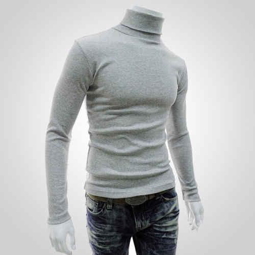 Zima gruby, ciepły sweter mężczyźni golfem mężczyzn marki swetry męskie Slim Fit sweter mężczyźni dzianina podwójny kołnierz