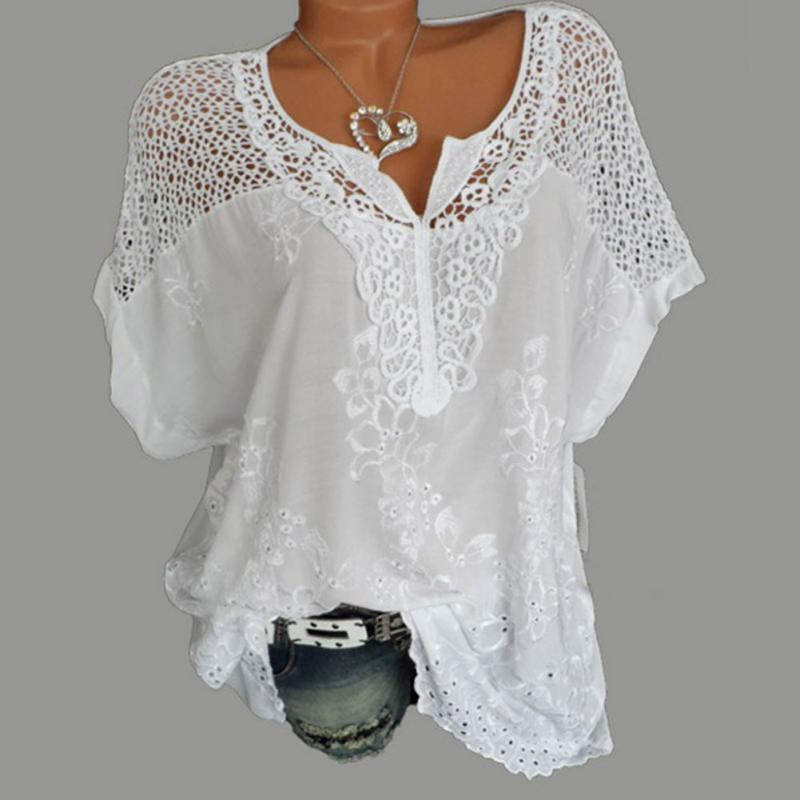 Women Blouse Plus Size XL-5XL Bat's wing sleeved V neck Tops shirt Fashion Lace Edge vestidos casual shirts