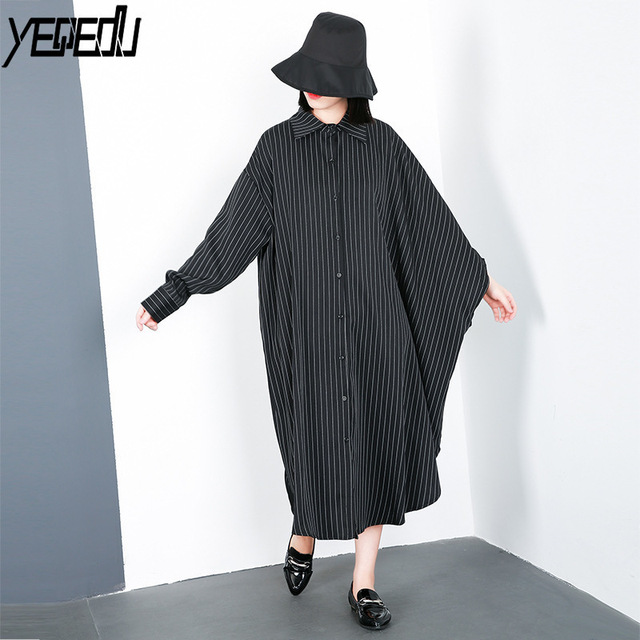 2a4b4bded056 #1066 Autumn Stripe Irregular Long Shirt Women Cardigan Single Breasted  Asymmetrical Sleeve Lapel Collar Streetwear