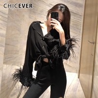 CHICEVER Feathers Black Blouses Tops Female Shirts For Women V Neck Long Sleeve Single Breasted Bandage Blouse Elegant Clothes