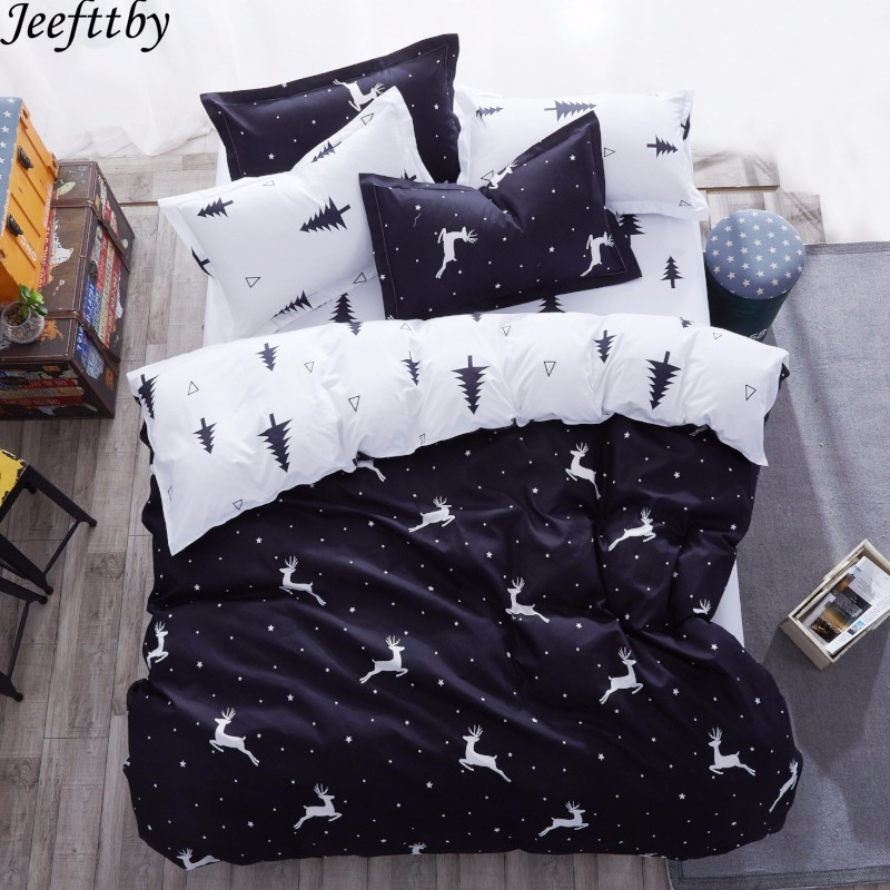 Home Textiles Hot Elk Forest Bedding Set 3/4pcs Queen Full King Size Duvet Cover Child Adult Pillowcase Flat Sheet Bedclothes
