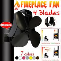 Wall Mounted Type 4 Blade Heat Powered Stove Fan Log Wood Burner Eco Quiet Home Fireplace Fan Heat Distribution Fuel Saving