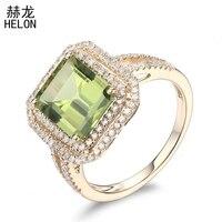 Твердые 10 K желтого золота безупречный 3.61ct натуральная кольцо из перидота Обручение кольца для Для женщин свадебный подарок вечерние Роман
