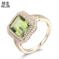 Solid 10K Yellow Gold Flawless 3.61ct Genuine Peridot Ring Engagement Rings For Women Wedding Gift Party Romantic Fine Jewelry