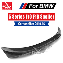 купить For BMW F10 F18 Carbon Fiber Rear Trunk Spoiler Wing Lip Tail Car Styling 5-Series 520i 525i 528i 530i 535i 535d 550i 2010-2016 дешево