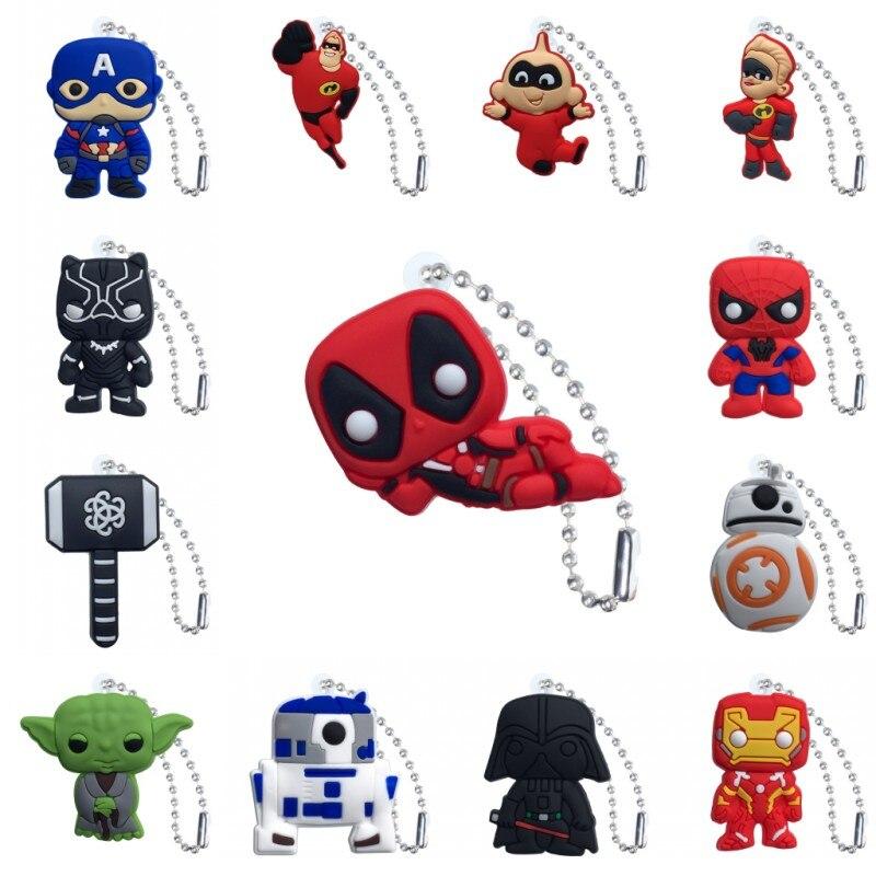 New 1pcs Avenger Star Wars Superheroes Keychain Mini Figure Key Chain Key Ring Anime Key Holder Charm Trinkets Gift For Men
