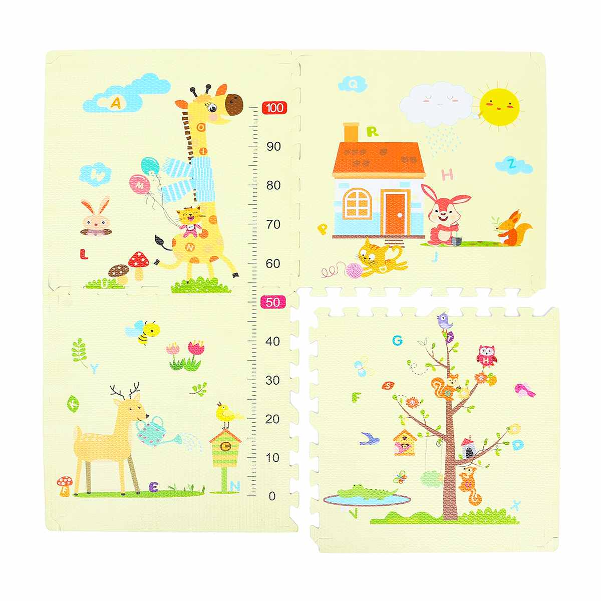 4 pièces 60x60 cm bébé jouer tapis EVA mousse plancher Puzzle bambin enfants sécurité ramper tapis bande dessinée girafe tapis de sol maternelle