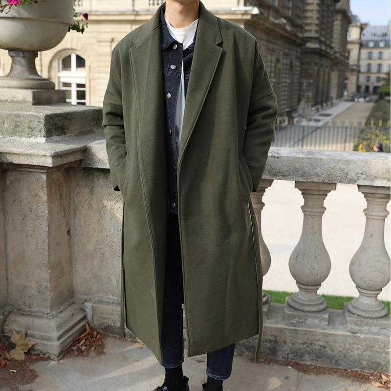 Повседневное свободное зимнее модное длинное шерстяное пальто с отложным воротником, Однотонное шерстяное пальто и куртка, пальто с открытой строчкой|Пальто| | АлиЭкспресс