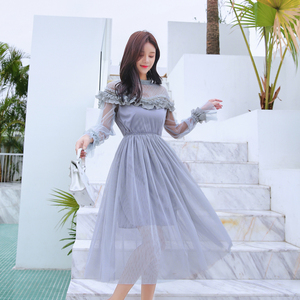 Image 2 - New 2019 Spring Autumn Women dress Flare Sleeve Patchwork Mesh Turtleneck Half A High end French Lace Dresses Blue Apricot 9086