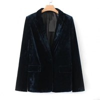 Spring Autumn Pockets Notched Collar Velvet Blazer Women Slim Ladies Work Blazer Ol Formal Suit Jacket