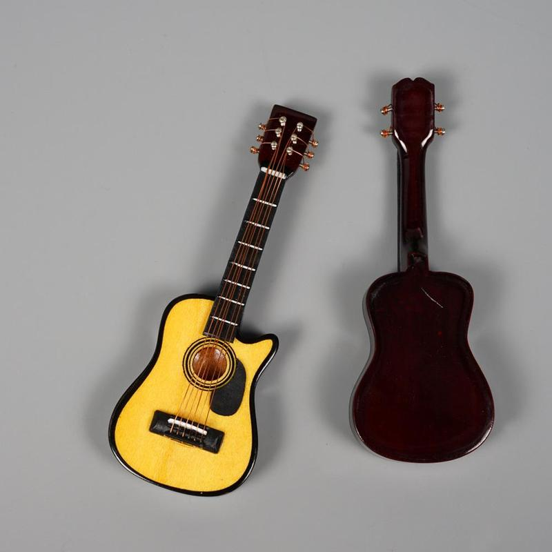Acoustic Guitar In Yellow For 1:12 Scale Dolls House Miniature Wooden Figure
