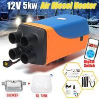12V Car Heater 5KW 4 Holes Digital Switch Air Diesels Parking Heater 10L Tank + Silencer 5000W for Motorhome Trucks