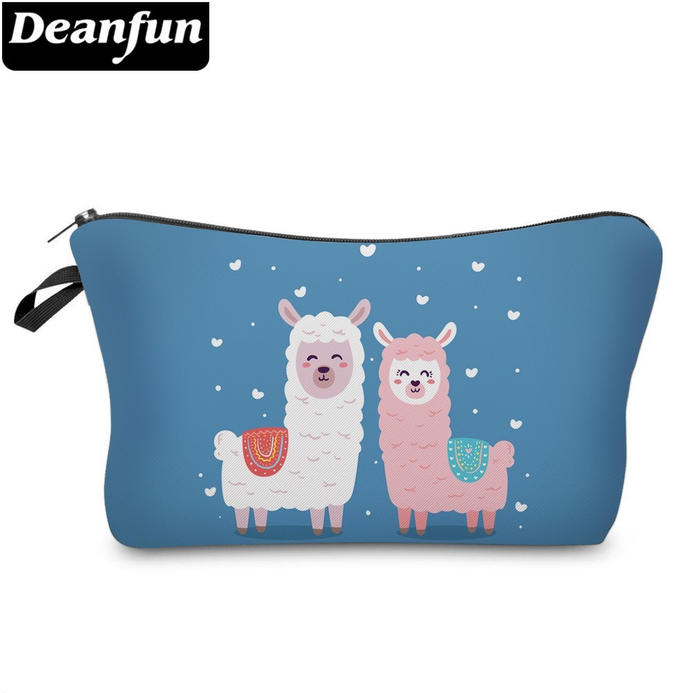 Deanfun Waterproof White Llama Blue Cosmetic Bag Heart Pink Alpaca Makeup Bag Necessaire Love Gift  51375