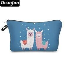 Deanfun Waterproof White Llama Blue Cosmetic Bag Heart Pink Alpaca Makeup Necessaire Love Gift  51375