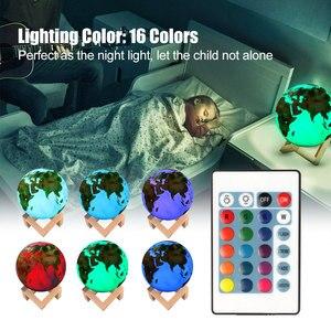 Image 4 - Lámpara de tierra pintada en 3D, lámpara de Luna colorida, lámpara recargable con Usb que cambia de color, luz Led nocturna para decoración del hogar, regalo creativo DA