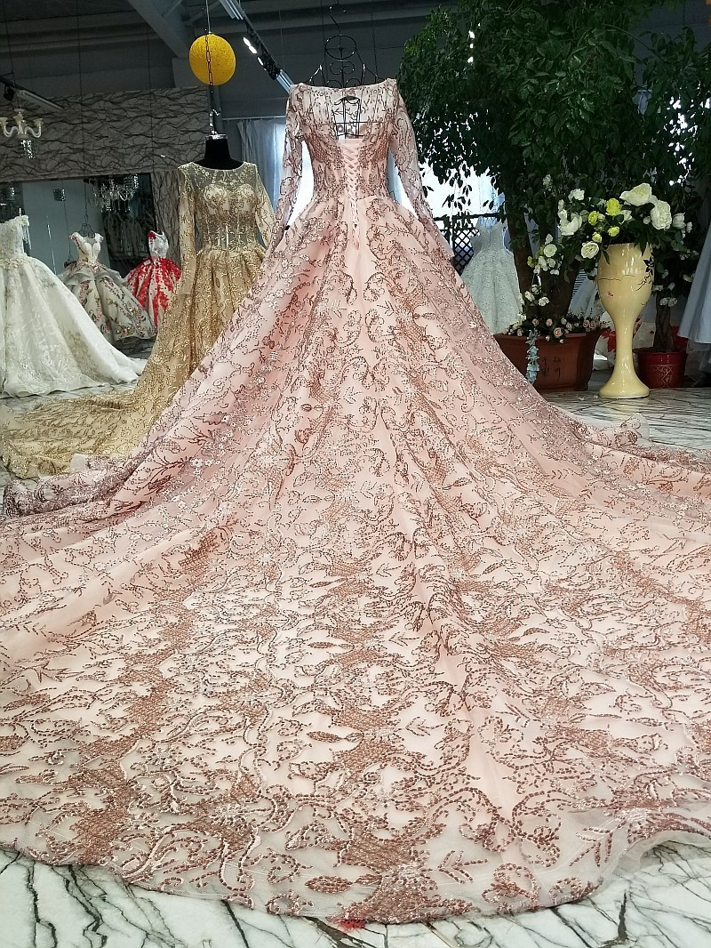 Aliexpress.com   Buy Rose Gold Wedding Dress Bling Bling Sequins Bridal  Ball Gown 2018 Gold Bridal Wedding Gowns Arabic Style Real Work Real Photos  from ... e04460a4498e