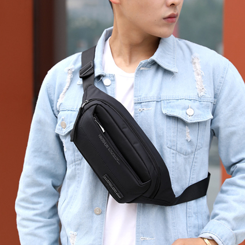 High Quality Men Nylon Hip Bum Fanny Pack Money Pouch Multi-Pocket New Fashion Sling Crossbody Chest Pack Male Waist Belt Bags