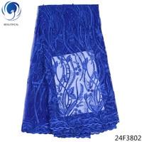 Beautifical blue lace fabric nigerian lace fabrics for wedding 2018 dubai lace fabric material 5yards/lot wholesale retail 24F38