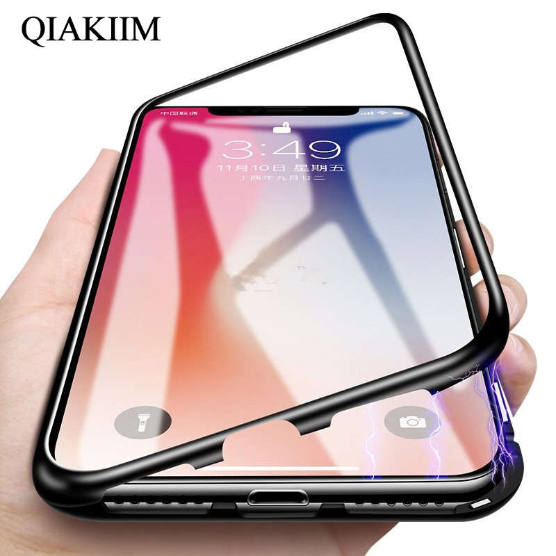 b37cf985ad7 360 Magnetic Adsorption Case for iPhone X 8 Plus 7 XS Max+Tempered Glass  Back Cover for iPhone XS 8 6 6S Plus X Hard Case Coque