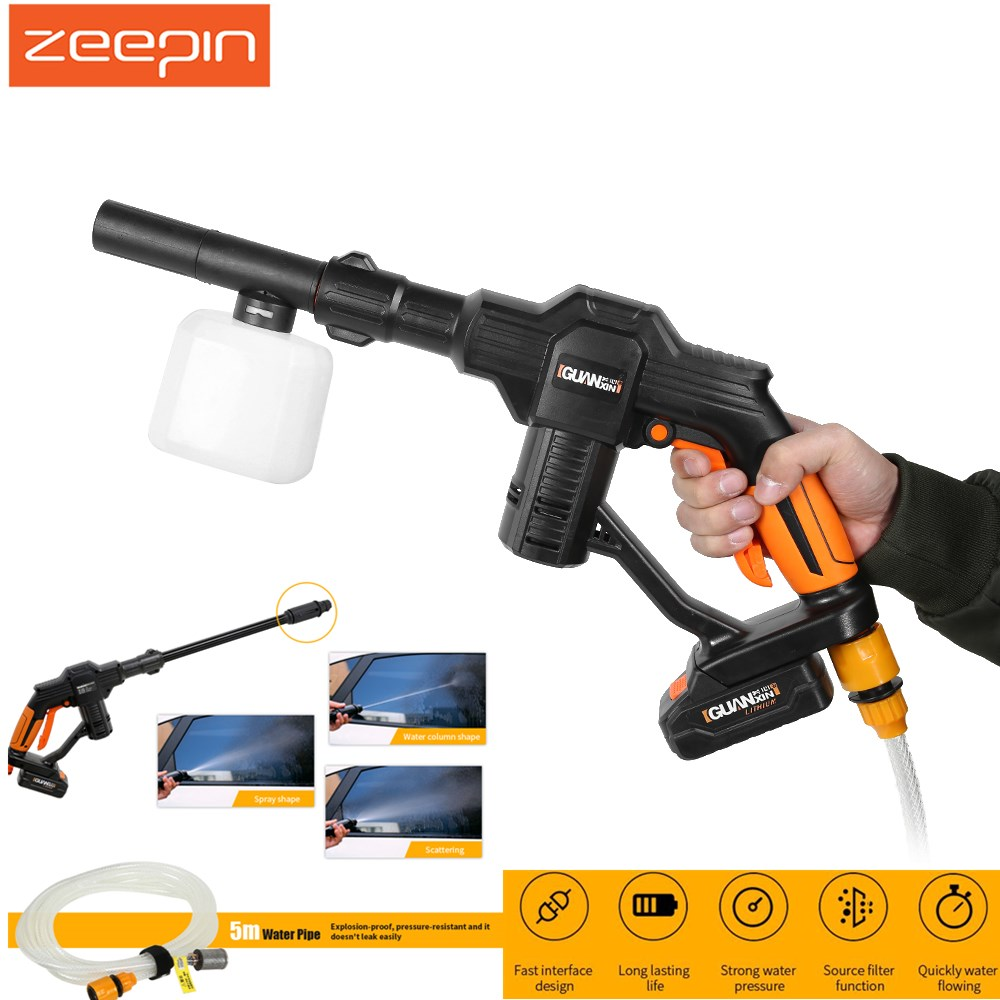 Zeepin Electric Car Washer 1.2MPa 20V Wireless Design High Pressure Automobiles Foam Gun With Adjustable Nozzle Easy Operation