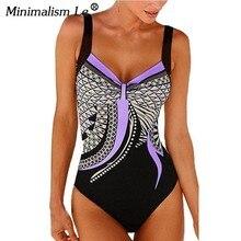 Le minimalismo Retro Impressão Sem Encosto Um Pedaço Swimsuit Halter Sexy  2019 New Beach Wear Mulheres f25ddc1ccff4a