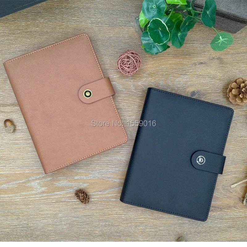 A5 refillable binder Folder Clear Pen Bag Color Sticker Soft Ruler Leather Folder File For 2021 Agenda