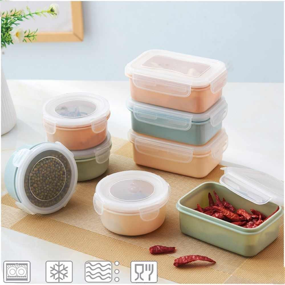 IVYSHION Kitchen Sealed Refrigerator Food Prep Box Fresh Keeping Spices Storage Lunch Container Bento Lunch Box Container