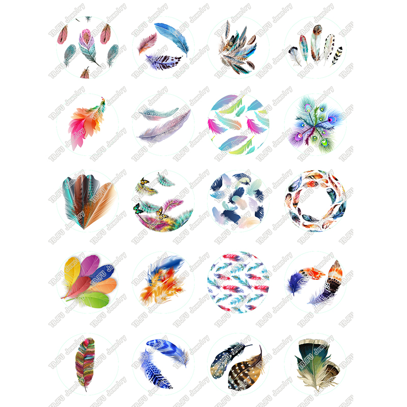 40pcs/lot 10mm 12mm 14mm 16mm Round Bird Colorful Feather Glass Cabochon For DIY Jewelry Making Findings & Components T066