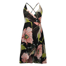 2019 Explosion Models Europe And The United States Sling V-neck Long Dress Print Chiffon Backless Beach  High Quality 2019 explosion models europe and the united states sling v neck long dress print chiffon backless beach high quality