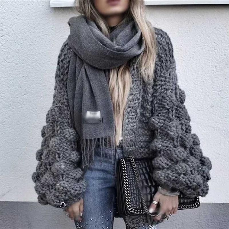 Femme Cardigan femmes chandail paresseux 3D BallsFloral Crochet chandail femmes lâche tricot lanterne manches grossière laine Pull Femme Hiver