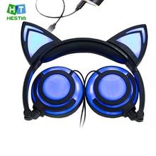 Наушники с кошачьими ушками мигающая светящаяся игровая гарнитура с микрофоном светодиодная светящаяся игровая 4,2 CSR для ПК ноутбука для взрослых детей
