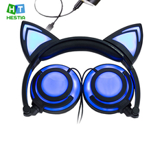 Cat Ear Headphones Flashing Glowing Gaming Headset with Micr