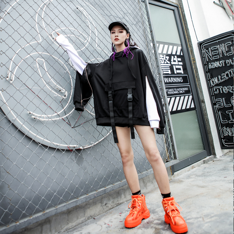 LANMREM 2018, новая мода, большие размеры, черный и белый цвета, с капюшоном, на молнии, с длинным рукавом, толстовка, женские топы, свободные толстовки, Vestido YE89201 - 3