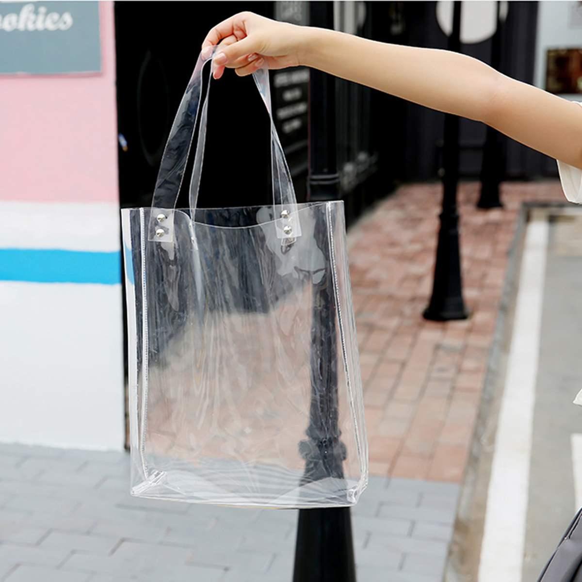 b94661732839 AEQUEEN 2019 Fashion Women Clear Transparent PVC Handbag Lady Shoulder  Plastic Bag Tote Shipping Shopper Bag