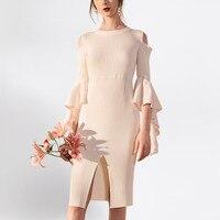 См. оранжевый сексуальный разрез вечерние платья для женщин Европейский вязаный свитер платье шифон рукава фонарики облегающее платье пла
