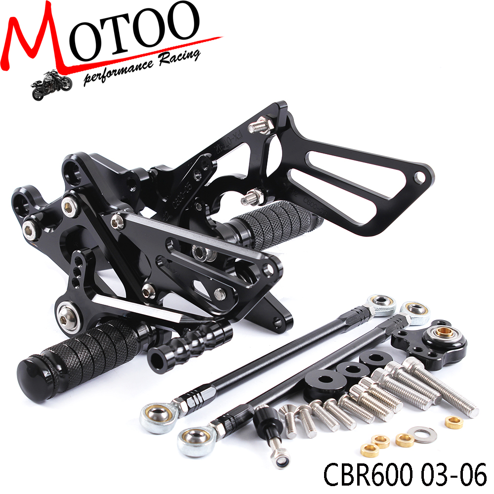 Motoo - Full CNC Aluminum Motorcycle Adjustable Rearsets Rear Sets Foot Pegs For HONDA CBR600RR CBR 600RR CBR 600 RR 2003-2006