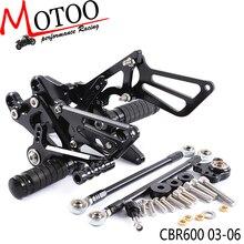 Moshi rearsets traseiros para motocicletas, conjunto de pegos traseiros ajustáveis para motocicletas honda cbr600rr cbr 600rr cbr 600 rr 2003 2006