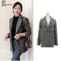 ew winter clothing Hot Sales Women woolen Jacket Female Korean Style Design Temperament Lady Pocket Cute Plaid woolen coat 1022