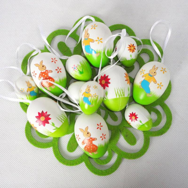 12pcs Easter Hand Painted Eggs Easter Toys Kids Diy Pendants Party Decorative Hand Craft Eggs Gift For Kid Lustrous Surface