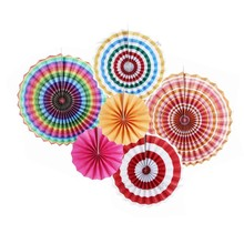 Birthday Decoration 6pcs/set Rainbow Party Decor Paper Fan Rosettes Backdrop For Events Supplies
