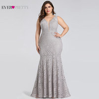 Plus Size Prom Dresses 2019 Ever Pretty EP08838 Elegant Mermaid Lace Sleeveless V neck Long Party Gowns Sexy Wedding Guest Gowns