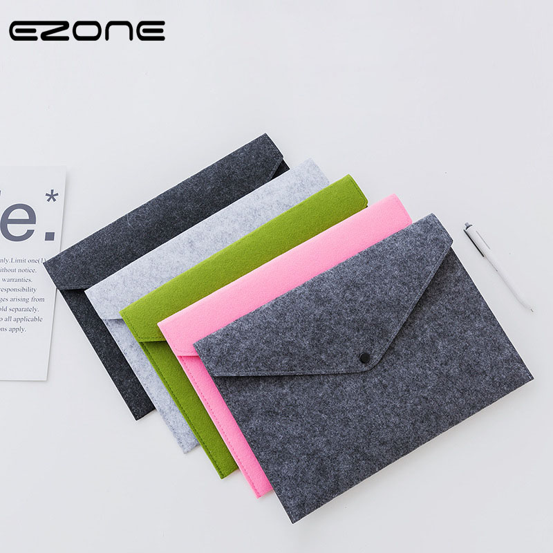 EZONE 1PC Felt File Folder 5 Colors Veiled Button Design A4 Envelope Document Bag Office File Organizer Bag 24*34cm Stationery