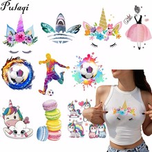 Pulaqi Unicorn Heat Transfer Patch Applique For Bag Clothing T - Shirt Printed Cartoon Football 3D Environmental Protection H