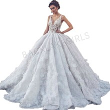 Ball Gown Sexy V Neck Lace Flowers Wedding Dresses 2019