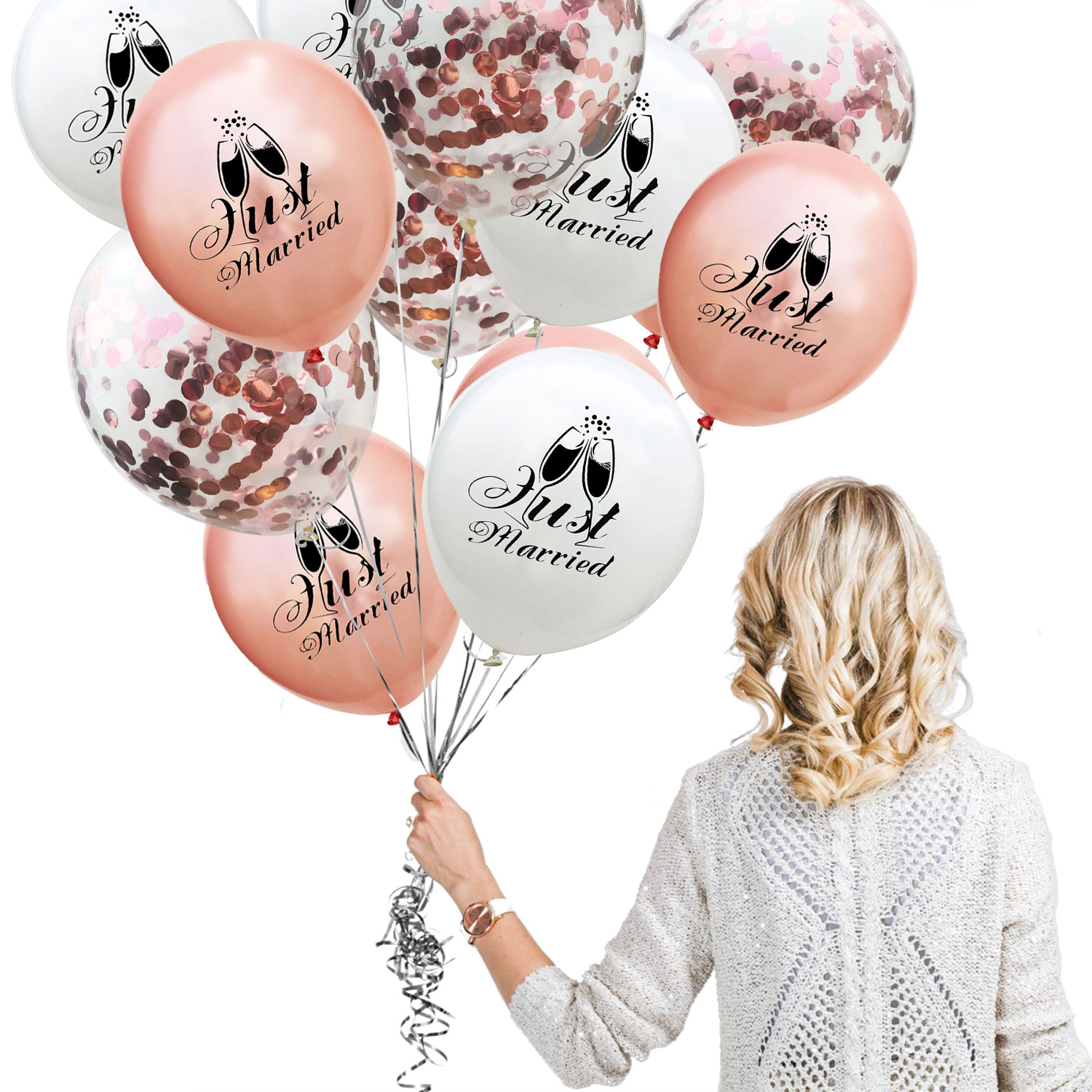"""16/"""" JUST MARRIED WEDDING PARTY AIR FILLED BALLOON KIT ROSE GOLD"""