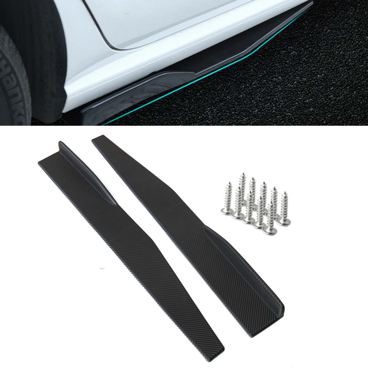 "2PC UNIVERSAL CARBON LOOK SIDE SKIRT ROCKER SPLITTERS WINGLET DIFFUSER 34/"" x3.7/"""