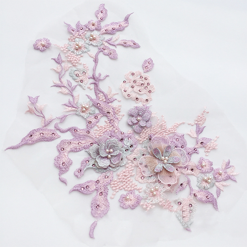 Hot 1pc Lace Bridal Beaded Flowers Embroidery Patches Sticker for Clothes Wedding Decor Dress Iron on Hot 1pc Lace Bridal Beaded Flowers Embroidery Patches Sticker for Clothes Wedding Decor Dress Iron on Sewing Applique Suppliers